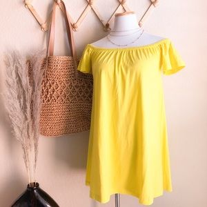 ASOS Yellow Off The Shoulder Mini Dress